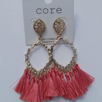 Damask Thread Tassel Earrings - Grapefruit