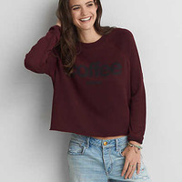 AEO Graphic Raglan Sweatshirt, Burgundy