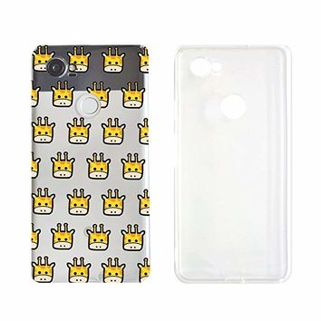 Cute Giraffe Pattern Transparent Silicone Plastic Phone Case for Google Pixel 2 Google Phone (5.74 x 2.74 x 0.31 in)_ SUPERTRAMPshop (VAS1444)