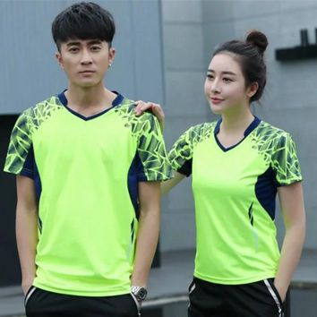 Sports Quick Dry breathable badminton shirt,Women Men table tennis team running Fitness exercise training fluorescent T Shirts