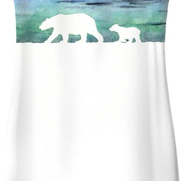 Aurora borealis and polar bears (white version) Simple Dress