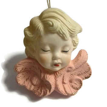 Vintage Victorian Angel Ornament Victorian Cherub Christmas Ornament Vintage Porcelain Angel Decoration Ceramic Christmas Angel Wall Decor