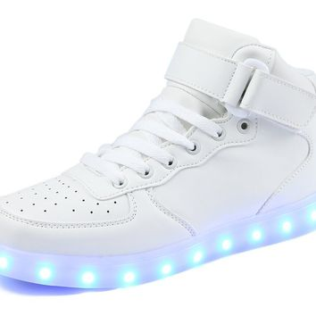 Z-joyee Unisex Women Men USB Charging LED Sport Shoes Flashing Fashion Sneakers [Men Size]