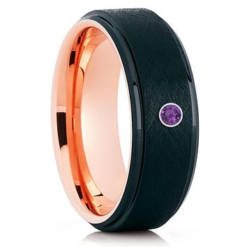 Rose Gold Tungsten - Black - Amethyst Wedding Band - Men's Wedding Ring