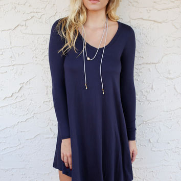 Persian Gulf Navy Long Sleeve Vneck Swing Dress