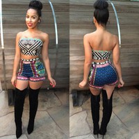 Chenier African Summer Print Crop Top and Shorts Set