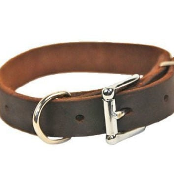 "Dean and Tyler ""B and B"", Basic Leather Dog Collar with Strong Nickel Hardware - Brown - Size 14-Inch by 1-Inch - Fits Neck 12-Inch to 16-Inch"