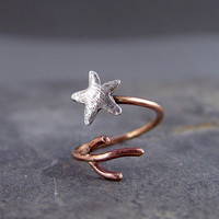 Starfish Coral Adjustable Ring Silver and Bronze by HapaGirls