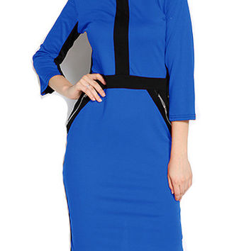 Charming Zipper Closure Round Neck Knee Length Dress