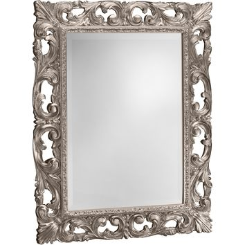 CP Wall Mirror with Wood Decorated Frame for Bathroom Vanity, Bedroom