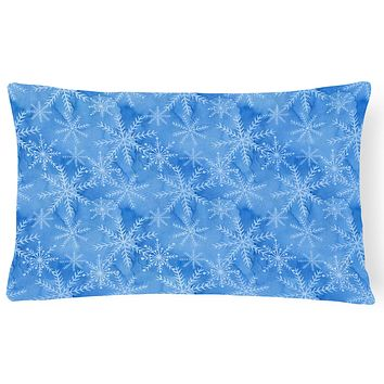 Watercolor Dark Blue Winter Snowflakes Canvas Fabric Decorative Pillow BB7576PW1216