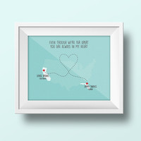 instant download, long distance love, relationship, custom print, wall art, instant print, miles apart, map states, turquoise  colour