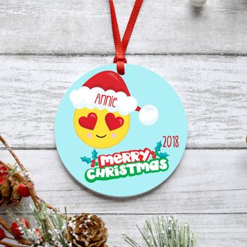 Heart Eye Emoji Christmas Ornament
