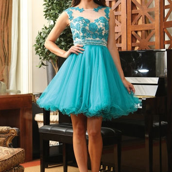 Q1141 Floral Tulle Homecoming Cocktail Dress