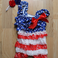 Red, White and Blue 4th of July Petti Romper, Flag with stars and stripes, Baby girl, Newborn, Toddler, Fourth of July Outfit