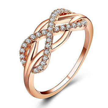Cubic Zirconia Infinity Symbol Ring CZ Forever Endless Love Promise Band Ring Eternity Friendship Band Rose Gold for Women Girls
