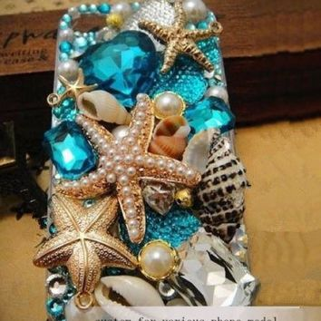 For Mobile Phone Bling Luxury Ocean Starfish Shell Pearls Crystals Cover Case