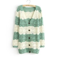 A 090916 Spell Color Long-Sleeved V-Neck Cardigan Jacket