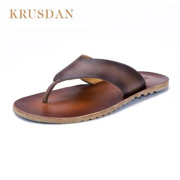 2017 Natural Leather Shoes Man Flip Flops Summer Men's Genuine Leather Flip Flops Sandals Shoes For men Casual Beach Sandals