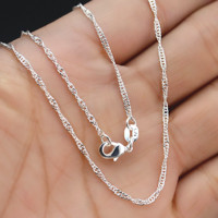 "5Pcs Wholesale 16-30""Jewelry Lot 925 Silver ""Water Wave"" Chain Necklace Pendant"