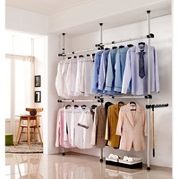 Clothes Rack,Simple Closet Wardrobe 4 Poles Adjustable Home Garment Hanger Clothes Rack - Walmart.com