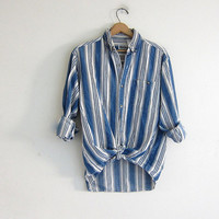 Vintage Striped Shirt. Preppy Cotton Button Down. white blue cotton. Pocket Shirt.