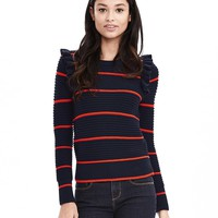 Striped Ruffle Pullover Sweater