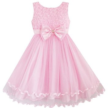 Flower Girl Dress Pink Rose Bow Tie Belt Wedding Birthday Party Kids Clothes 2017 Summer Princess Dresses Size 2-10 Pageant