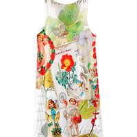 Angels And Flowers Print Sleeveless Dress