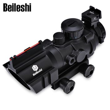 4X32 Riflescope Tactical Compact Hunting Scope Red Green Blue Dot Light Fiber Sight with 3 Wrench 20MM Rail Hunting Optics