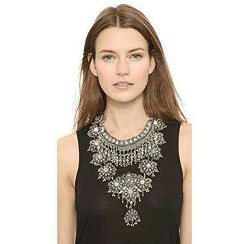 Zhenhui Fashion Vintage Silver Gold Tone Long Boho Statement Necklace Trendy Bohemian Turkish for Women Accessories From Indian Jewelry (Black)