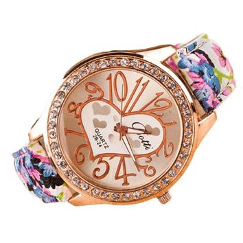 Heart PatternLeather Band Quartz Watch