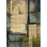 5' x 7'3 Abstract Area Rug in Blue Green Beige Pattern
