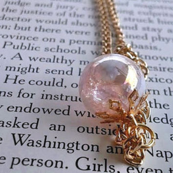 Hippie Jewelry - Glass Marble - Fired Marble - Bridesmaid Jewelry - Bridal Jewelry - Boho - Gold Jewelry - Marble Necklace - Pink Jewelry