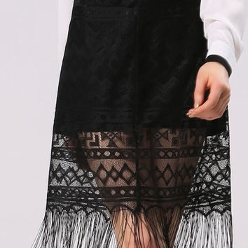 Women's Fashion Sexy Black Lace Fringes Long Pencil Skirt = 1838485060