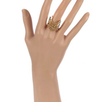 Gold Multi Chain Double U Shape Metal Ring