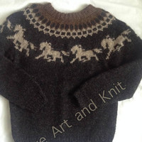 Ready to ship, Icelandic sweater, lopapeysa, Icelandic wool, unisex adult clothing, adult sweater, lopi, horses, winter sweater,