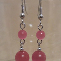 Pink Tiger Eye Dangle Earrings - Handmade - Fashion Jewelry - Ladies Gift - Pink Earrings