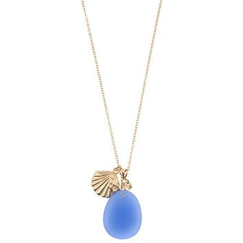 Opal stone with shell pendant necklace