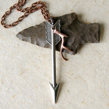 Arrow Necklace - Silver Arrow Necklace - Arrow Jewelry - Antler Necklace - Copper Antler Necklace - Arrow and Antler Necklace
