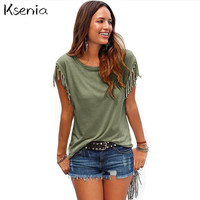 Ksenia Blouses Shirts 2017 Fashion Loose Women Tops Casual Blouses Short shirt Tassel Cotton Solid mujer blusa blusas