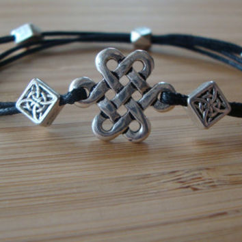 Silver celtic knot and bead friendship bracelet - simple everyday jewelry