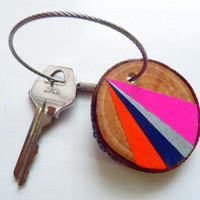 GALACTIC SHIMMER--geometric wooden keychain, geometric wood keychain, personalized keychain, custom keychain, wood keyring, wooden necklace