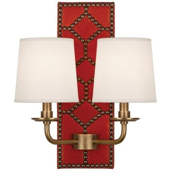 Robert Abbey Williamsburg Dragon Blood Lightfoot Double Sconce