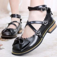 Womens Lolita Ankle Cross low heel Oxfords Mary Janes bowknot Bow Casual Shoes Stappy 8Colors Candy