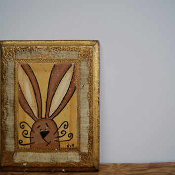 Spring bunny sign, Wooden spring sign, Bunny rabbit spring picture, Vintage picture spring decor, Spring decoration easter bunny sign