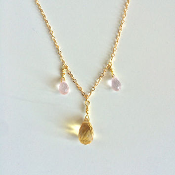 Love & Clarity ~ Handmade Gold Filled Wire Wrapped Citrine and Rose Quartz Necklace ~ 14k Gold upon Request