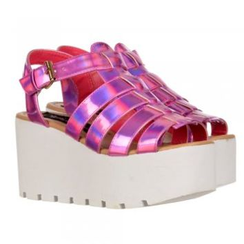 Onlineshoe Cut Out Gladiator Platform Summer Sandals - Chunky Sole Wedges - Gold, Fuschia - Onlineshoe from Onlineshoe UK