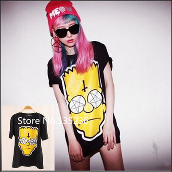 2016 New Topic 1 3D Printed Simpsons T Shirt Women tees women type T-shirts Short Sleeve high quality  Women's Printed T Shirts