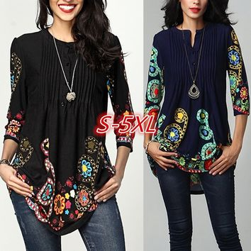 Women's Fashion Long Sleeve Pintuck Notch Neck Tunic Button Print Blouse WZG3040